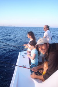 Remy fishing in Sardinia